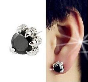 Promotion hot sell fashion dragon claw black crystal 30% silver plated men`stud earrings man jewelry boyfriend birthday gift