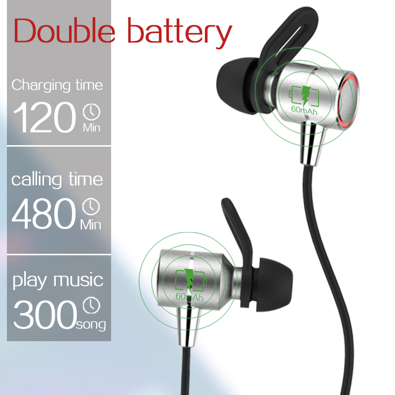 Sport Earphone Metal Magnetic Wireless Bluetooth Earphones In-Ear HiFi Bass Headset With Mic Earbuds For Iphone Samsung Xiaomi 8