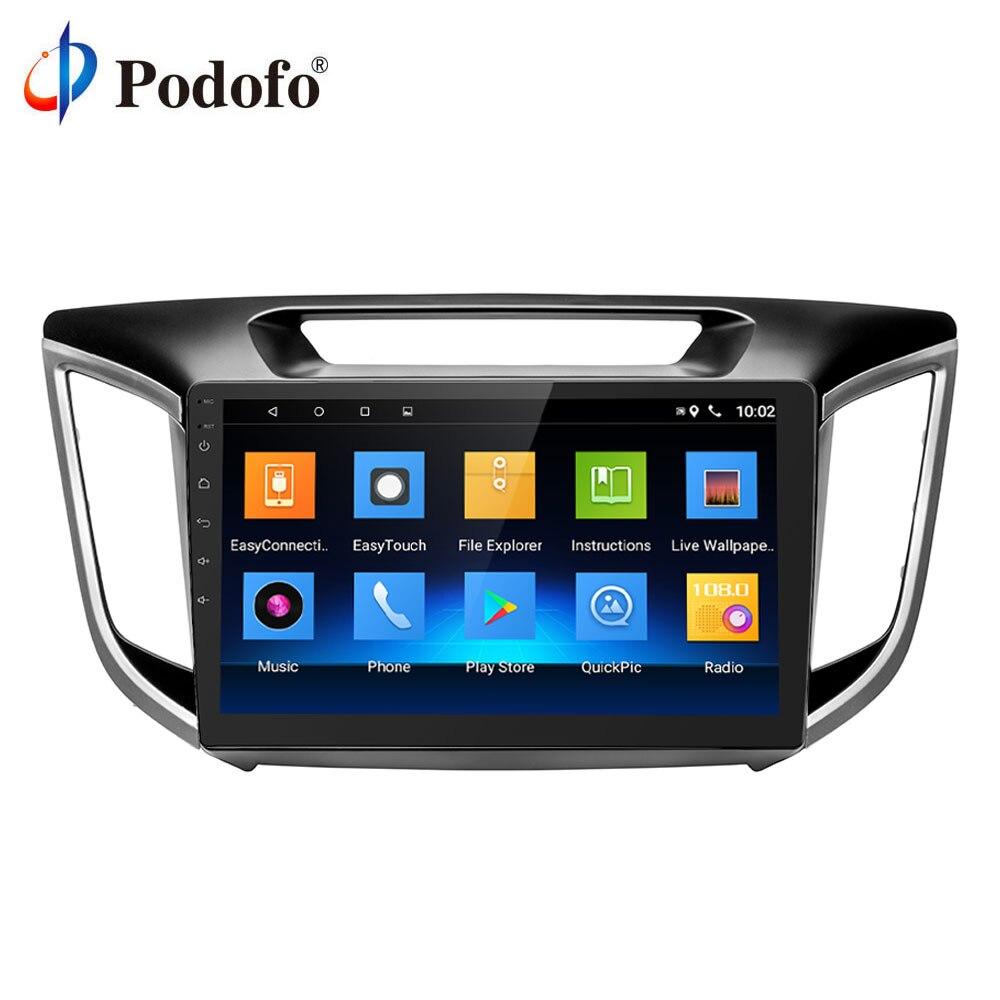 Podofo 10 2 din Android автомобильный мультимедийный плеер для hyundai Creta 2014-18 радио магнитофон видео gps навигация wifi RDS USB