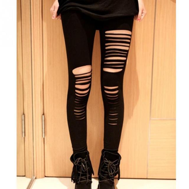 f229738a94927f Fashion Style Summer Sexy Leggings Women Cotton Torn Ripped Hole Ninth Pant  Leggings Brand New Women