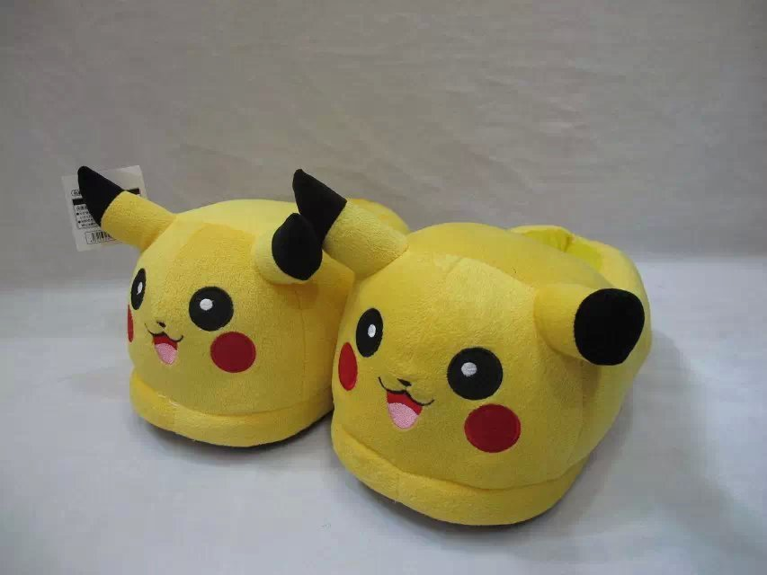 Popular Anime font b Pokemon b font go Pocket Monsters Pikachu Slippers Cute Indoor Fluffy 100