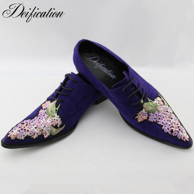 Deification Luxury Fashion Cow Suede Men Casual Shoes Loafers Italian Design Male's Flats Pointed Toe Embroidery Men Dress Shoes