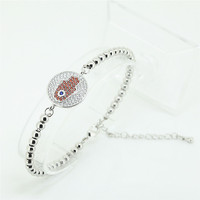 1PC 2016 New Mens Silver Bracelets Round Copper Mirco Pave Red White Cubic Zirconia Hamsa Connector