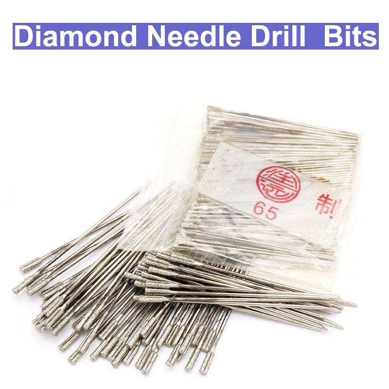 цена на URANN 10pcs/lot 1.2~2.2mm Diamond Coated Lapidary Drill Bit Solid Bits Needle For Jewelry Ceramic Jade Agate Glass amber