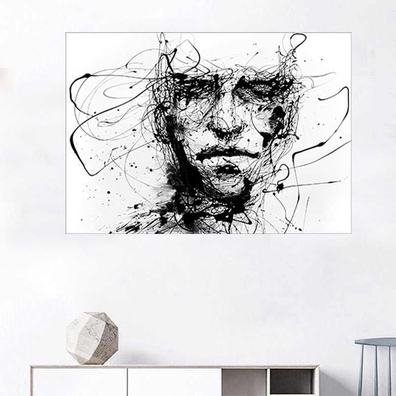 Nordic Minimalist Black and White Line Characters Home Decoration Hanging Paintings Abstract Canvas Painting Wall Art Picture