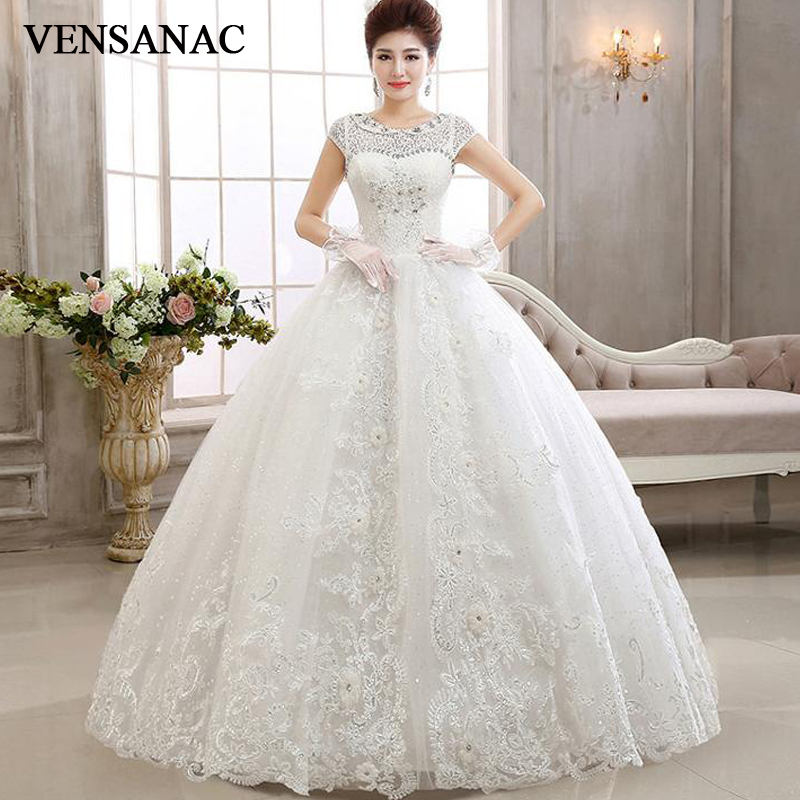VENSANAC 2018 Crystal Pearls O Neck Sequined Ball Gown Wedding Dresses Lace Appliques Flowers Short Cap Sleeve Bridal Dress in Wedding Dresses from Weddings Events