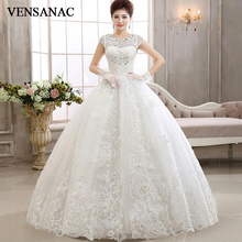 VENSANAC 2018 Crystal Pearls O Neck Sequined Ball Gown Wedding Dresses Lace Appliques Flowers Short Cap Sleeve Bridal Dress