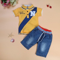 2017 New Arrival Summer Baby Boys Clothing Sets Childrens Toddler Boy Jeans Shorts Turn Down Collar