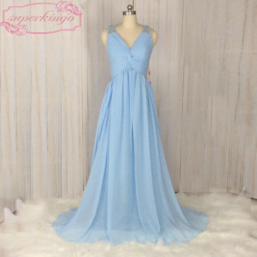 SuperKimJo Vestidos De Festa Beaded V Neck Blue Prom Dresses Formal Gowns Elegant Simple Long Evening Dress For Women