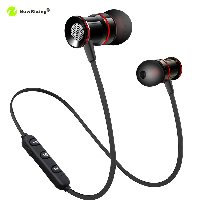 NewRixing Bluetooth Earphone Sports Running Headphone Magnetic Metal Wireless Earphone Earbuds With Mic For iPhone8 X Smartphone ravi a8 wireless bluetooth earbuds airpods with usb car charger handsfree bluetooth earphone with mic for smartphone dd