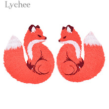 Lychee 1 Pair Fox Embroidery Patches Animal Design Iron on Appliques DIY Sewing Material Supplies for Coat Jacket Jeans