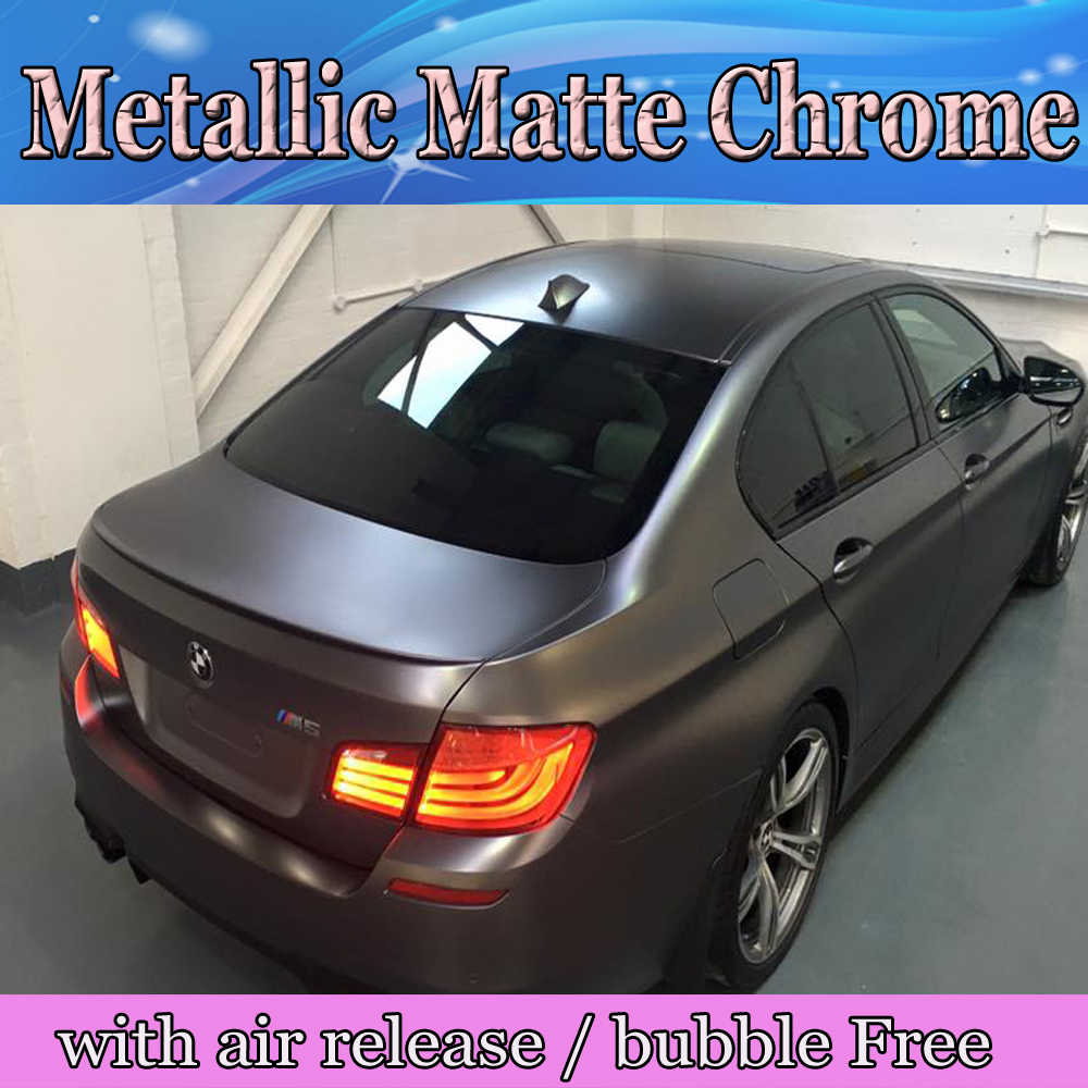 High Quailty Metallic Gunmetal Vinyl Car Wrap With Air Free Dark Grey Anthracite Matte Wrapping Foil Size 1 52x20m Roll