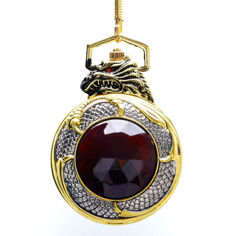 Unique Big Crystal Red Garnet Inset Pendant Clock Man Charming Evil Dragon New Gold Tone Case Quartz Pocket Watch Necklace Chain unique smooth case pocket watch mechanical automatic watches with pendant chain necklace men women gift relogio de bolso