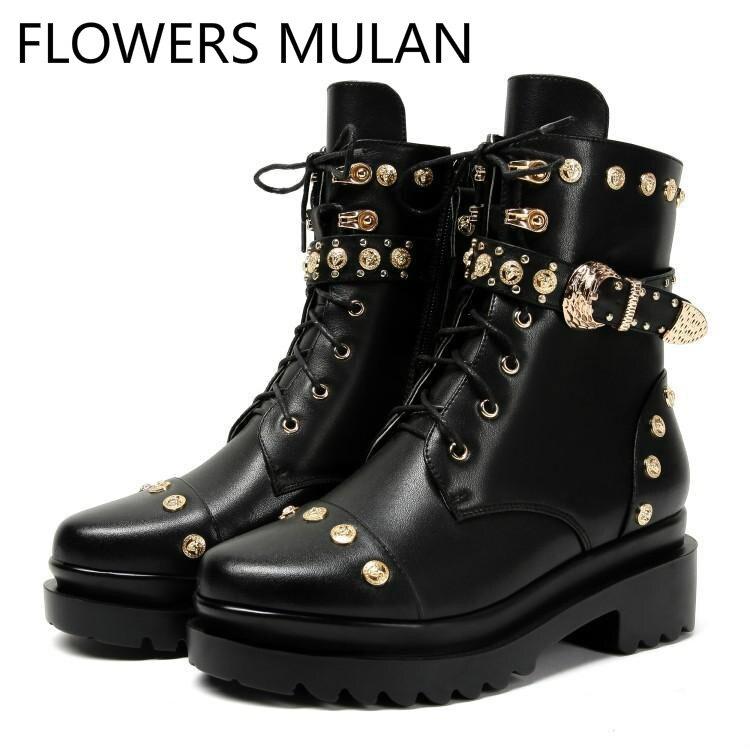 Atado Oro Chica Señora Hebilla Genial Remaches Cinturón Negro Martin Invierno De Tachonado Zapatos Botas Metal Cuero Cruz Mujer Lujo BYUxq8Z