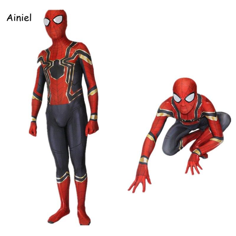 Ainiel Homecoming Spiderman Cosplay Zentai Iron Spider Man Costume Superhero Bodysuit Suit Jumpsuit for Boy Children