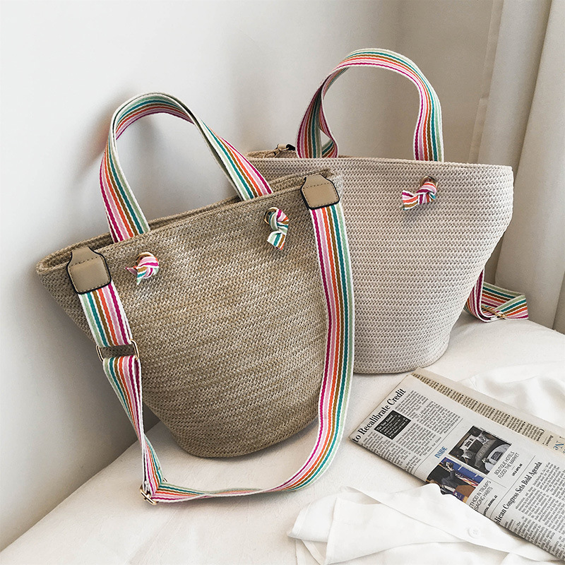 Casual Straw Bags For Women Rattan Buckets Handbags Wicker Woven Female Shoulder Bag Rainbow Wide Strap Summer Beach Purses 2019