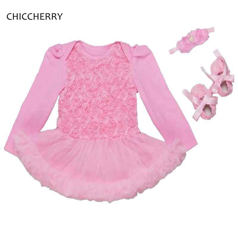 Pink 3pcs Infant Girl Clothes Rose Lace Romper Dress Wedding Baby Dress Set Headband & Shoes Vestido De Bebe Birthday Outfits