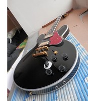 Free shipping new arrival High Quality Black B BK Hollow Body 6 strings Electric Guitar 1217