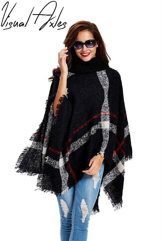 Poncho Sweater Plaid Cardigan Turtleneck Batwing-Sleeve Knit Wool Women's Plus-Size Cape
