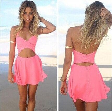 Sexy Kleider Pink Mini 2015 New Fashion Strap One Piece Dress Pink ...