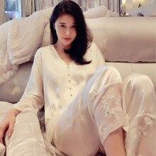จัดส่งฟรีฤดูใบไม้ผลิผู้หญิงสีขาวชุดนอนผ้าไหมยาวกางเกงยาว 2 ชิ้นชุดหญิงฤดูร้อนลูกไม้ชุดนอนชุด