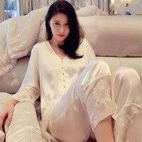 Free Shipping 2018 New Autumn Women's White Silk Pajamas Long Pants Set Home Cloth Princess Lace Sleepwear pyjama Sets