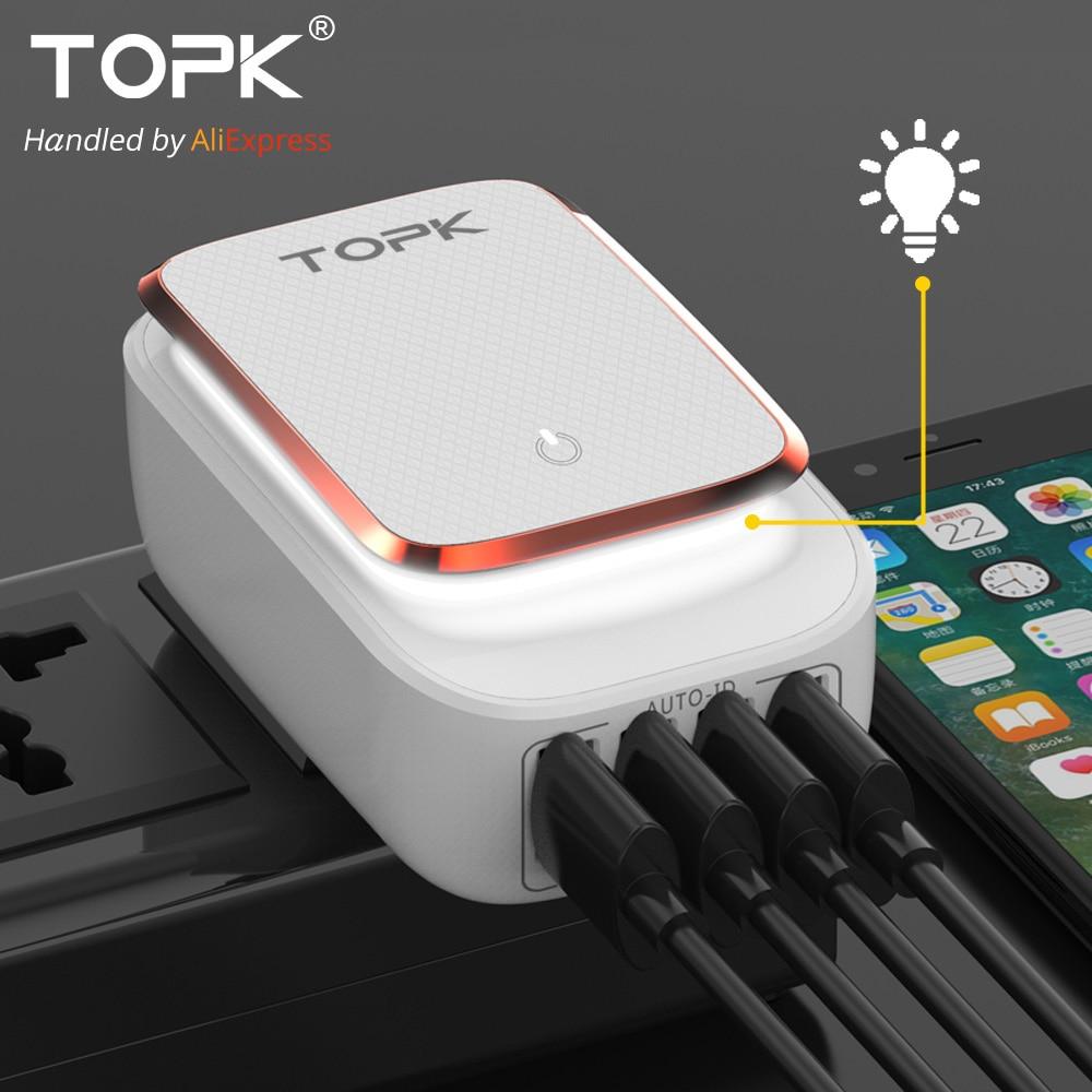 TOPK L-Leistungs 4-Port 4.4A (Max) 22 Watt EU Usb-ladegerät Adapter LED Lampe Auto-ID Tragbare Handy Reise Ladegerät für iPhone Samsung
