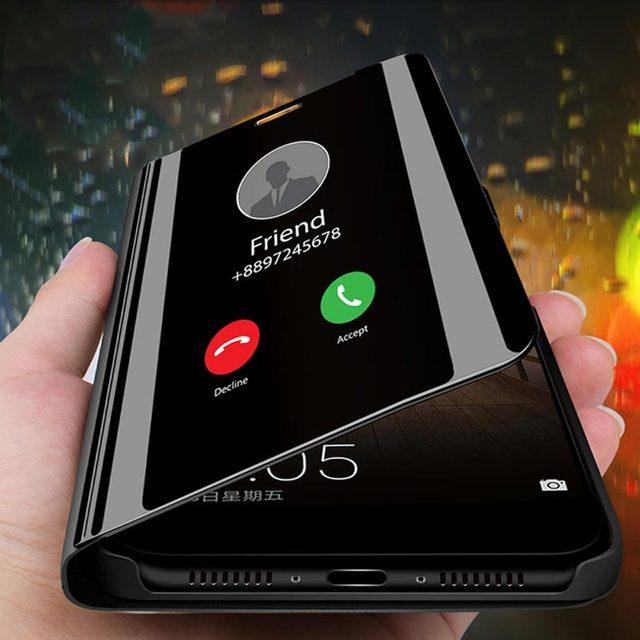 스마트 미러 플립 전화 케이스 아이폰 7 8 X XR 지우기보기 스마트 미러 케이스 아이폰 11 Por XS Max 5 5S SE 6 6S 플러스 커버