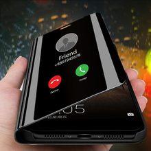 Capa de espelho de celular inteligente, capa de espelho de celular inteligente de deslizar para iphone 7 8 x xr, capa de espelho com visão clara para iphone 11 pro xs max 5 5s se 6 6s plus