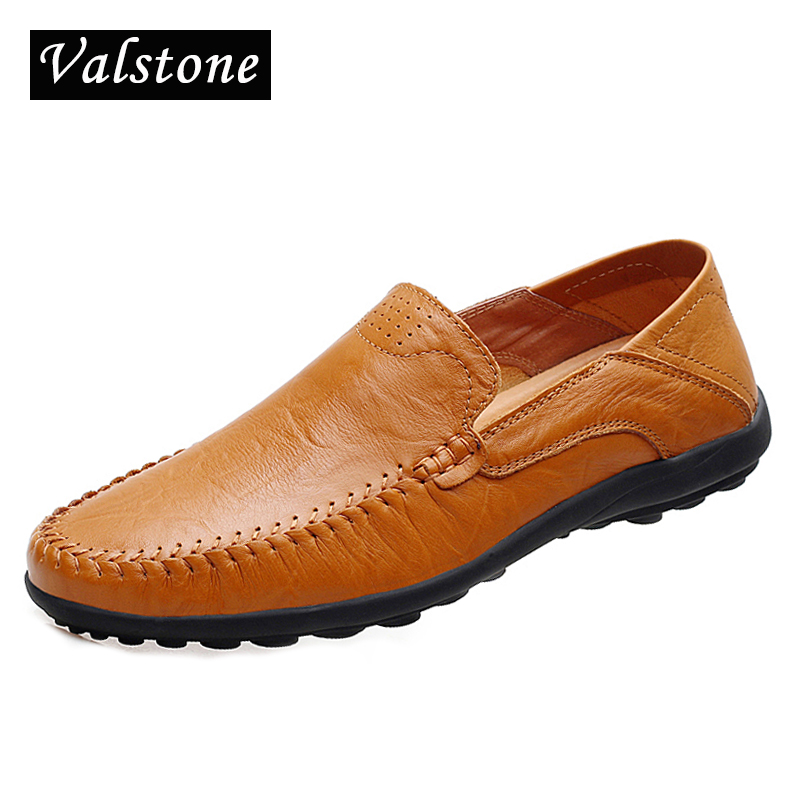 Valstone 2018 Summer Leather Shoes Men Italian handtailor moccasins non-slip loafers hot sale flats driving shoes plus sizes 47