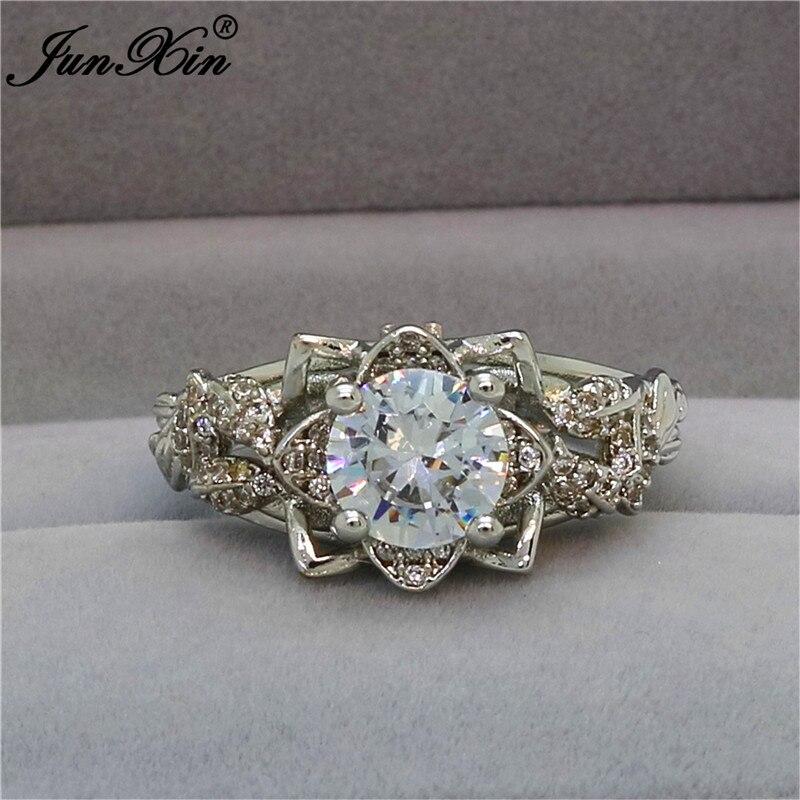 Junxin Luxus Weibliche Weiße Blume Ring Mode 925 Sterling Silber Gefüllt Cz Finger Ring Versprechen Engagement Ringe Für Frauen Geschenk Perfekte Verarbeitung Schmuck & Zubehör