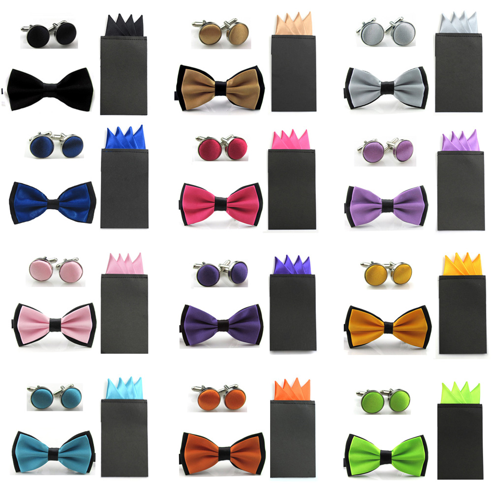 Men Dual Color Satin Bowtie 4 Point Pre-folded Pocket Square Hanky Cufflinks Set SETBW0042