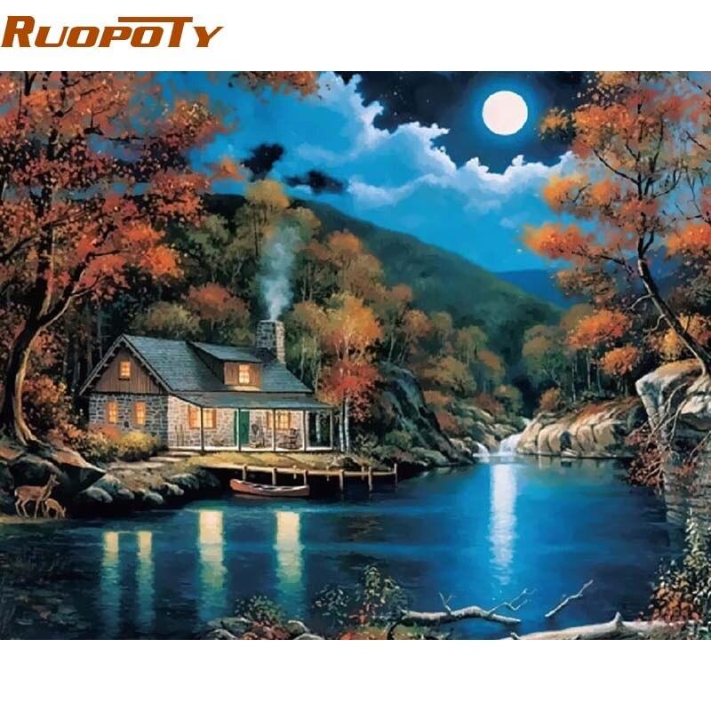 RUOPOTY Telaio Fantasy Paesaggio Rurale Pittura Diy Dai Numeri Kit Home Decor Wall Art Disegno Pittura Con i Numeri 40x50 cm Opere D'arte