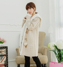 long section of cashmere knit thickened Korean large cap code twist sweater cardigan coat winter