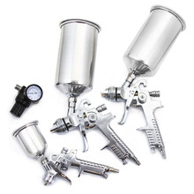 цена на 3x Professional HVLP Air Spray Gun Paint Sprayer 1000ml Gravity Feed Airbrush Kit Car Furniture Painting Spraying Tool