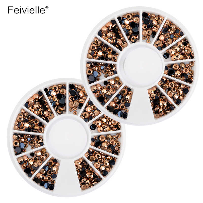 גודל מעורב חם ברונזה Feivielle להבה ג 'לי Rhinestones טיפים קישוטי הציפורניים 3D חרוזי קריסטל קסם אמנות ציפורן בגלגל