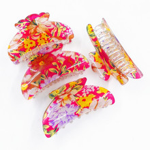 Hot Sale print acrylic hair claws marble patterns headwear floral glitter clip for women daily using accessories
