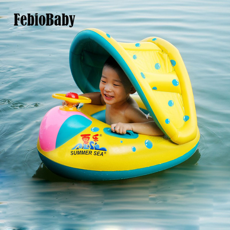 Summer Baby Water Floating Toys Inflatable Ride Water Car Detachable Sunshade Seat Boat Swimming Ring With Steering Wheel