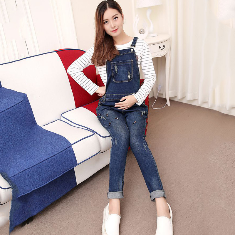Spring Autumn Pregnancy Denim Jeans Plus Size Overalls for Pregnant Women Elastic Waist Pants Maternity Suspender Trousers spring luxury beading embroidered flare jeans female boot cut embroidery flower jeans denim trousers slim stretch plus size 38 page 4