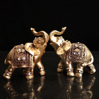 Golden Elephant Figurines Statues Resin Home Decor Lucky Elephant with Trunk up Statues Birthday Gifts Home Decoration Miniature