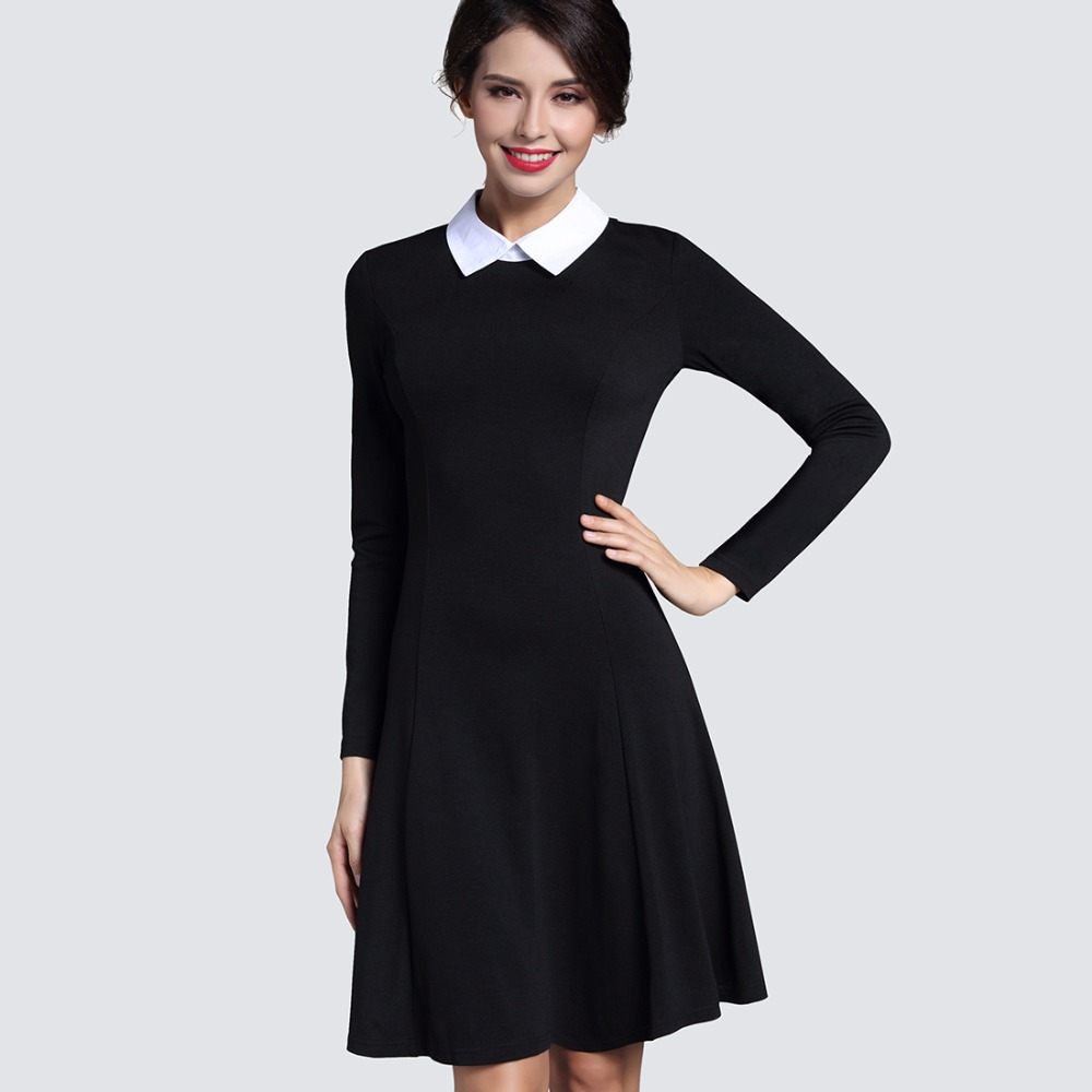 234d460225f Autumn Winter Women s Elegant Casual A-line Dress Slim Turn- Collar Long  Sleeve Work
