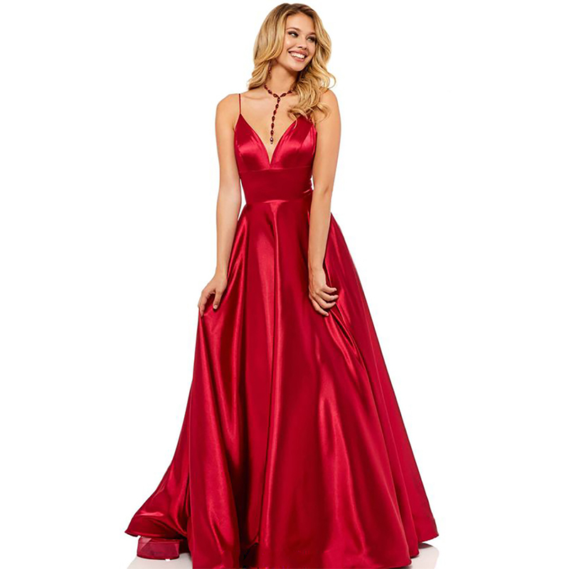 Verngo Blue Red Evening Dress Stain Fashion Evening Gown V Neck Formal Dress Dress Party Plus Size Vestido Longo Festa in Evening Dresses from Weddings Events