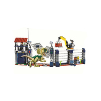 Jurassic 2 World Dilophosaurus Front Gate Attack Building Blocks Bricks Sets Movie Model Kids Toy Gift Compatible with Legoing