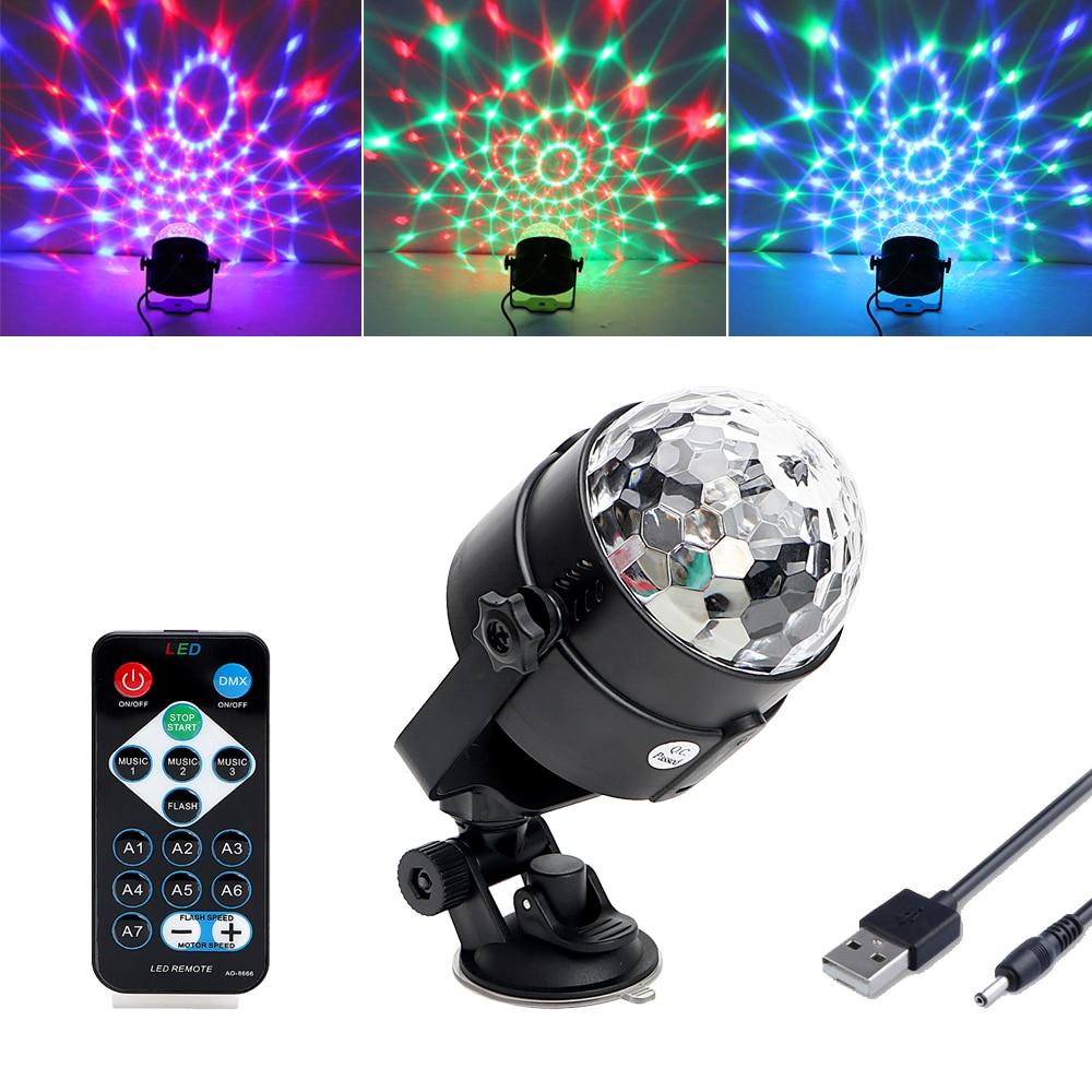 RGB Crystal Stage Light with IR Remote Control Auto Rotating Colorful DJ Club Disco Light Bar Pub KTV Party Effect Lamps USB стоимость