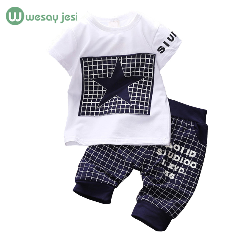 Baby boy clothes 2016 Brand summer kids clothes sets tshirt+pants suit clothing set Star
