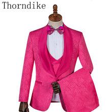Thorndike różne kolory smoking z jednym guzikiem dla pana młodego szal Lapel Groomsmen męskie garnitury dla drużby męskie garnitury ślubne trzyczęściowy garnitury