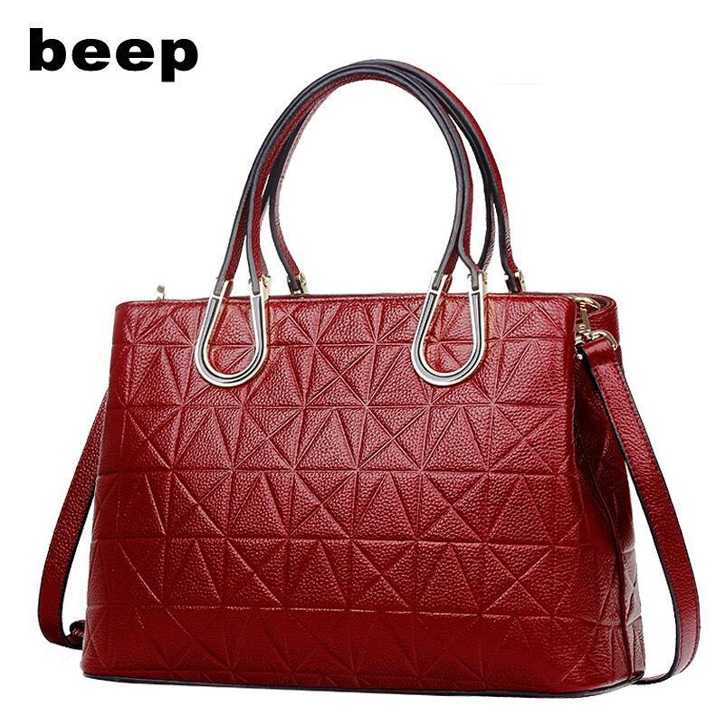 BEEP2018 new high-quality fashion luxury brand leather handbag bag fashion embossed first layer of leather shoulder bag beep beep go to sleep