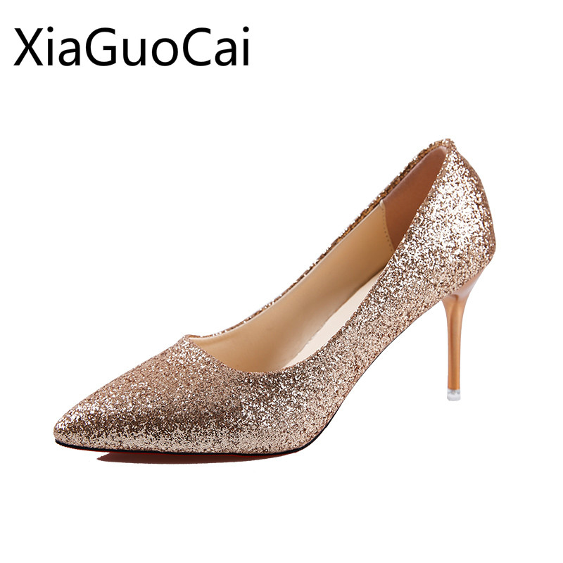Womens Pumps Silver Pointed Gold Bridesmaid Pumps Cheap Wedding Female Shoes Low Heels Female Party Pumps