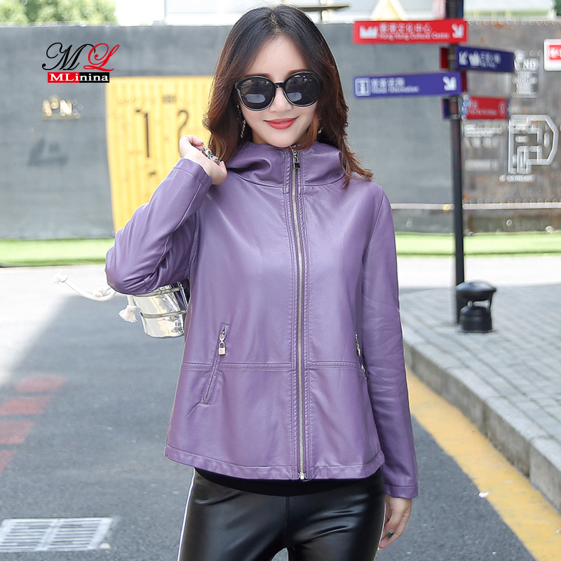 MLinina 2019 New Women's   Leather   Jacket Winter Coat Female Soft Faux PU Loose Plus Size Hooded Solid   Leather   Outwear Black Red