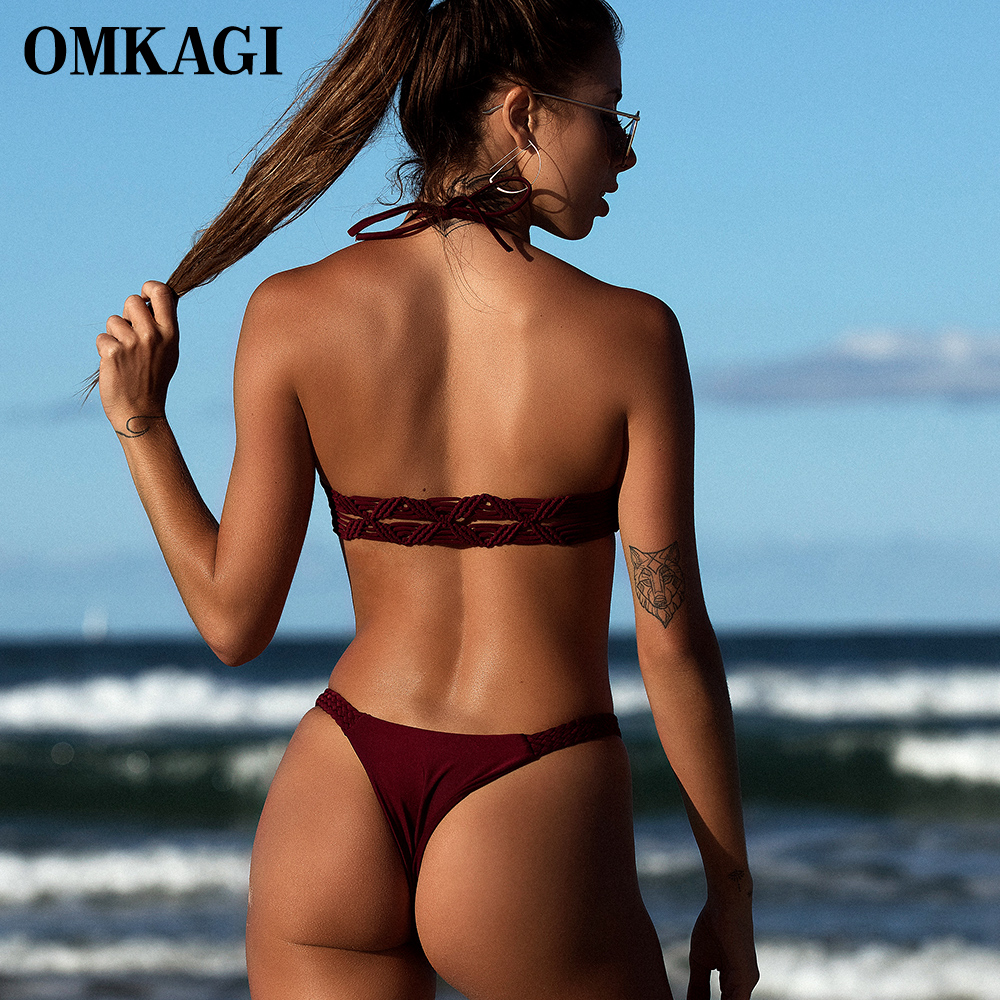 OMKAGI Brazilian Bikini 2018 Swimsuit Swimwear Women Micro Bikinis Set Sexy Push Up Female Swimming Bathing Suit Beachwear 2
